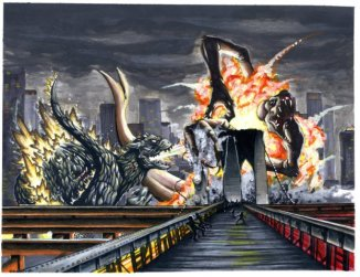 Godzilla Vs Cloverfield_by_starvingzombie