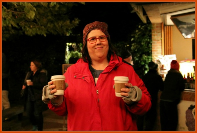 Elizabeth serves up the hot cocoa!
