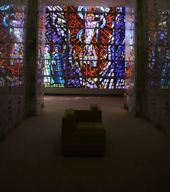 Resurrection mausoleum stained glass Jesus