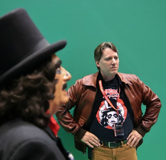 TV horror host, Svengoolie, with his director, Chris Faulkner
