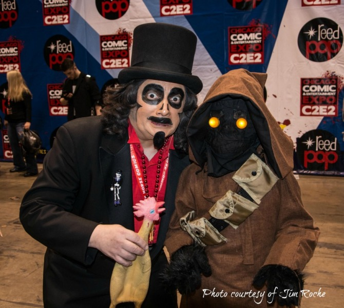 TV horror host, Svengoolie, with a STAR WARS Jawa