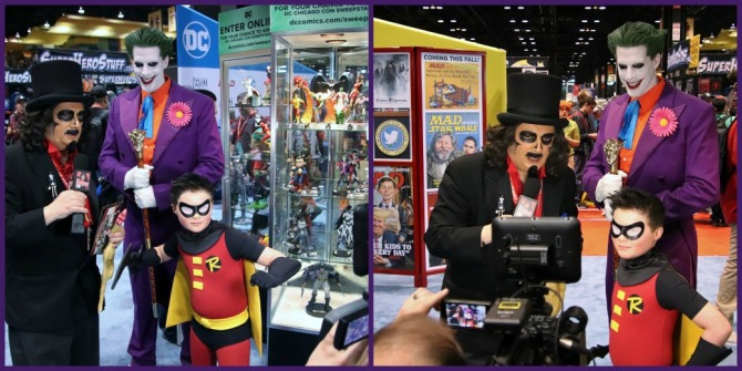 TV horror host, Svengoolie, interviews man dressed as the Joker from Batman animated series