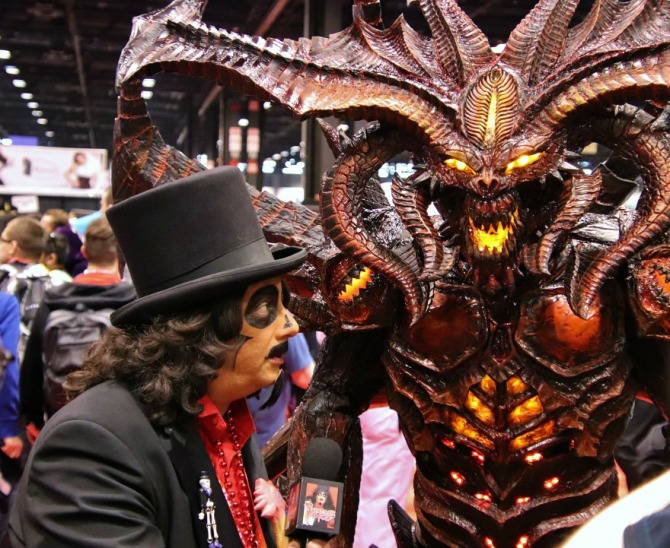 TV horror host, Svengoolie, with a Monster
