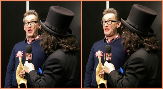 TV horror host, Svengoolie, interviews the voice actor for Spongebob Squarepants, Tom Kenny