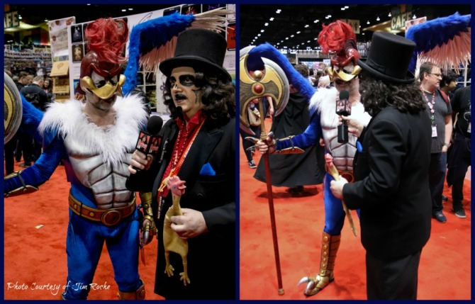 TV horror host, Svengoolie, with Warrior Woody Woodpecker